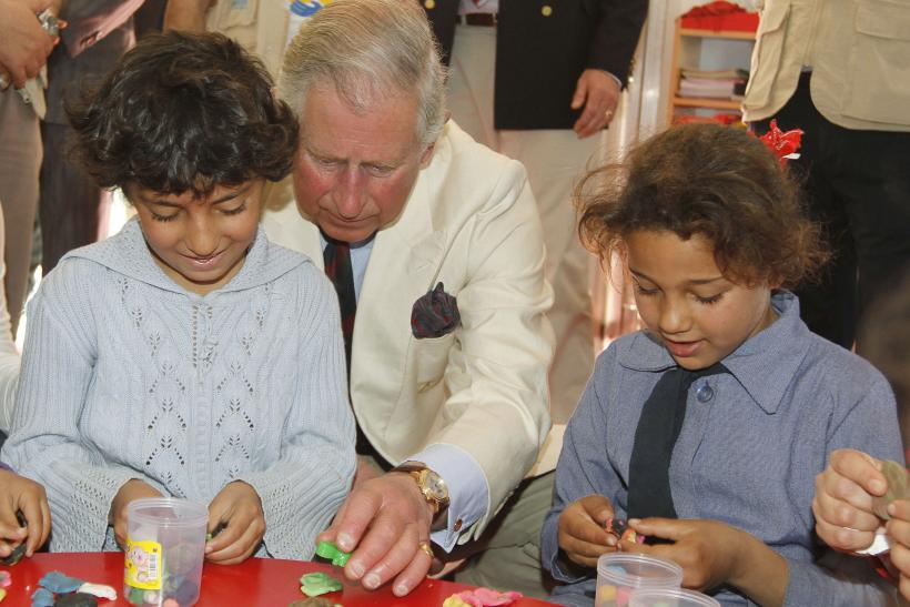 Prince Charles with Syrian refugee children