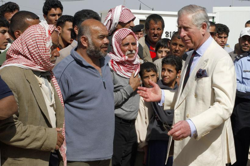 Prince Charles talking with Syrian refugees