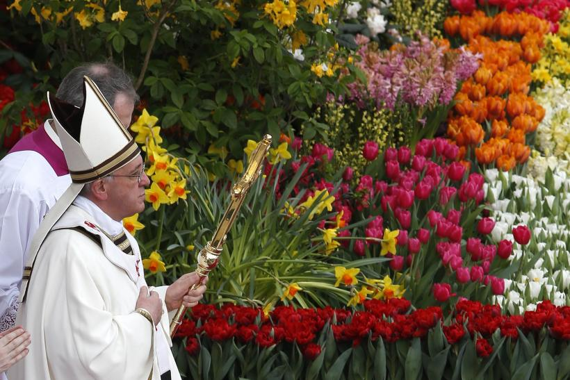 Pope Francis leads the Easter mass in St. Peter's Square at the Vatican