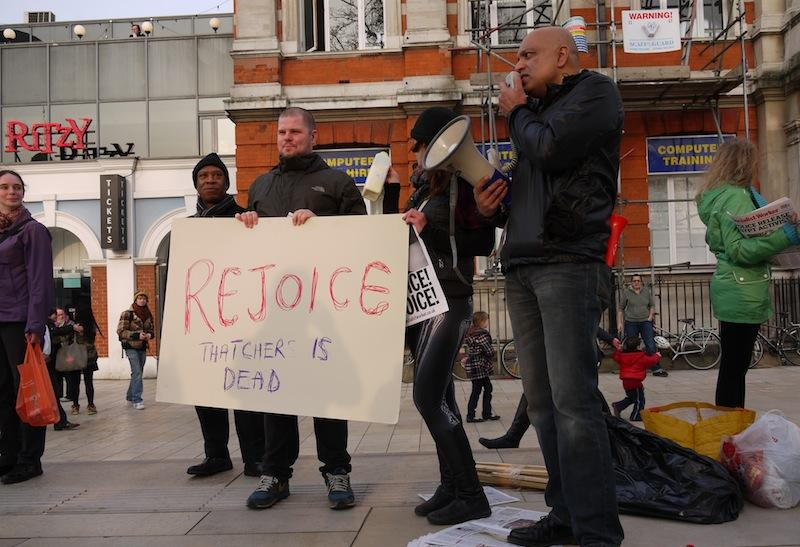 Brixton London residents celebrating Thatcher's death