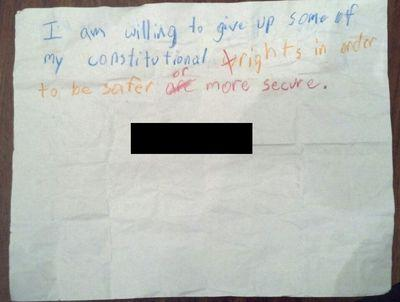 Fourth Grader's Note
