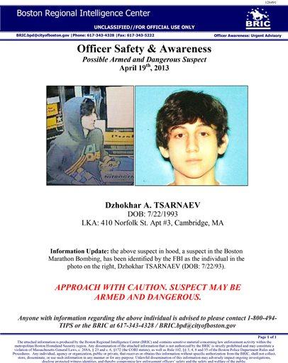Boston Police Scanner Audio Detailing Manhunt For Suspect Dzhokhar Tsarnaev