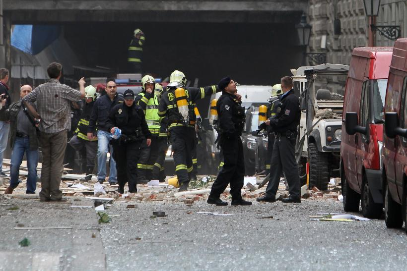 Police at explosion site in Prague