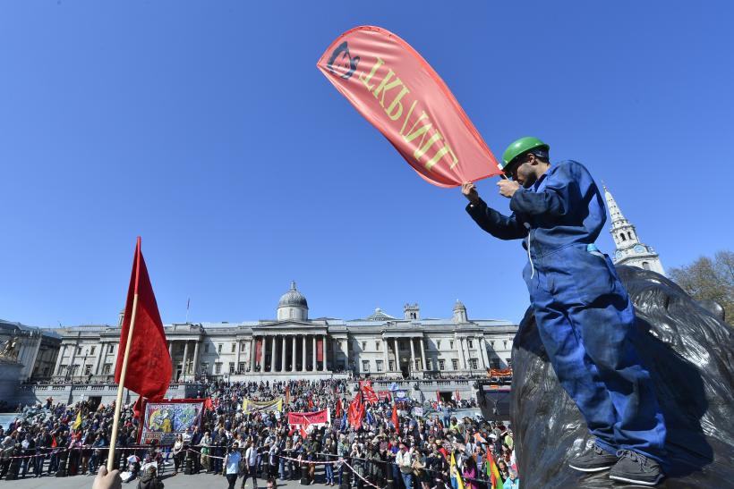 May Day protesters in Trafalgar