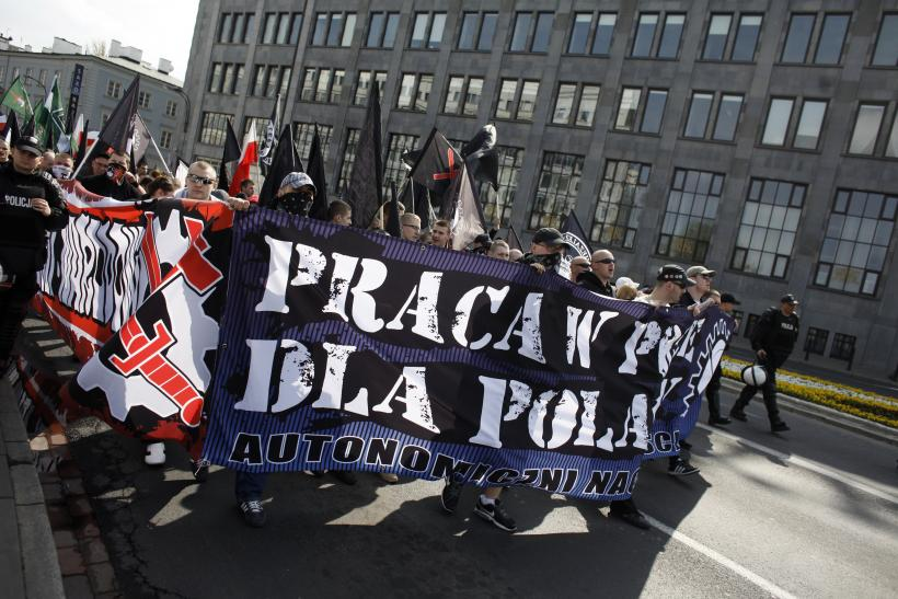 May Day protesters in Warsaw