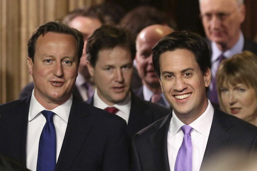 David Cameron and opposition leader at U.K. state opening