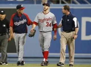 Harper Receives 11 Stitches For Collision