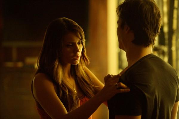 "Elena and Damon in ""The Vampire Diaries."""