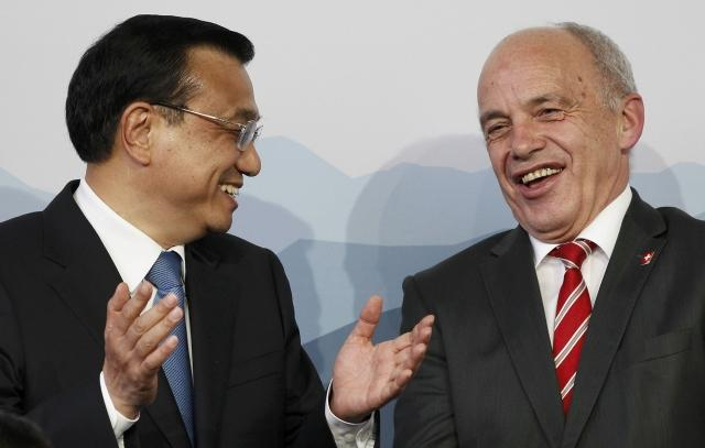 Chinese Premier Li and Swiss President Maurer