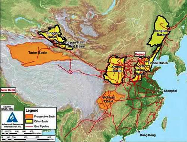 China Shale Gas and Pipeline Map