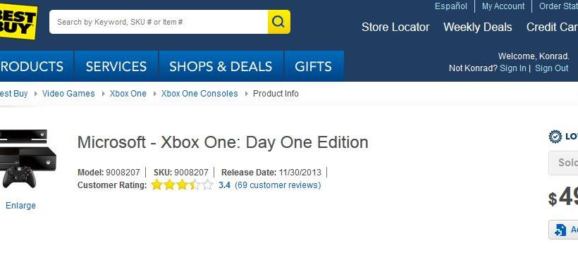 Xbox One BB Sold Out