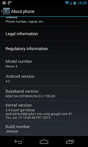 Android 4.3 Operating System