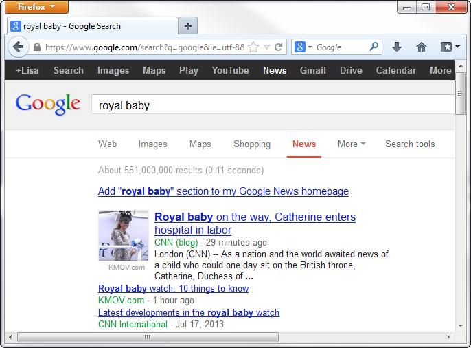 Google News Hits For Royal Baby