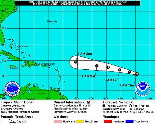 Tropical Storm Dorian 2013: Path To Follow Across Atlantic Ocean, Could Land In Bahamas As Early As Next Week [PHOTO]