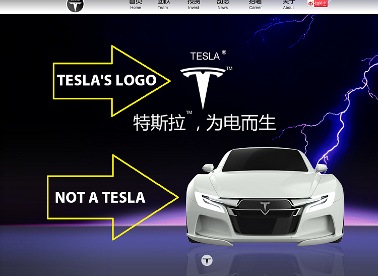 Fake Chinese Tesla Websit