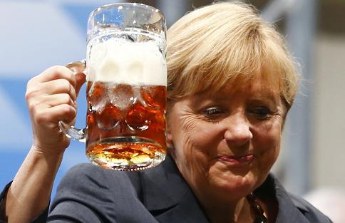 Germany Merkel beer Aug 2013 2