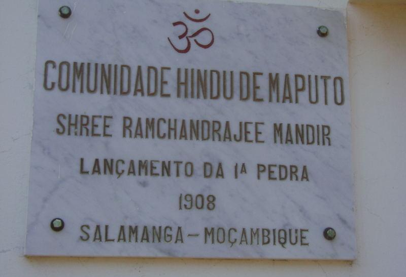 Sign at Indian temple in Mozambique