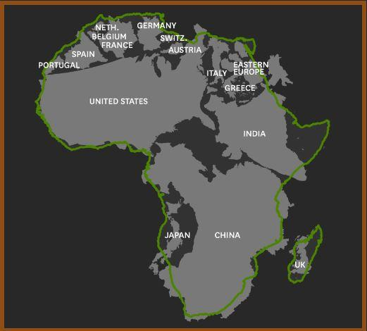 How Africa's landmass compares to other global regions.