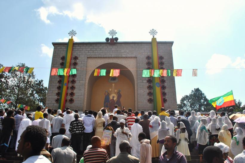 Orthodox Christian Ethiopians gather at Estifanos Church in Addis Ababa to mark the religious holiday Meskel on Sept. 27, 2013.  IBTimes/Jacey Fortin