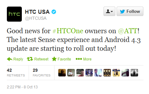 AT&T HTC One Receives Android 4.3 Jelly Bean Update; T-Mobile Still On Track For Mid-October Update