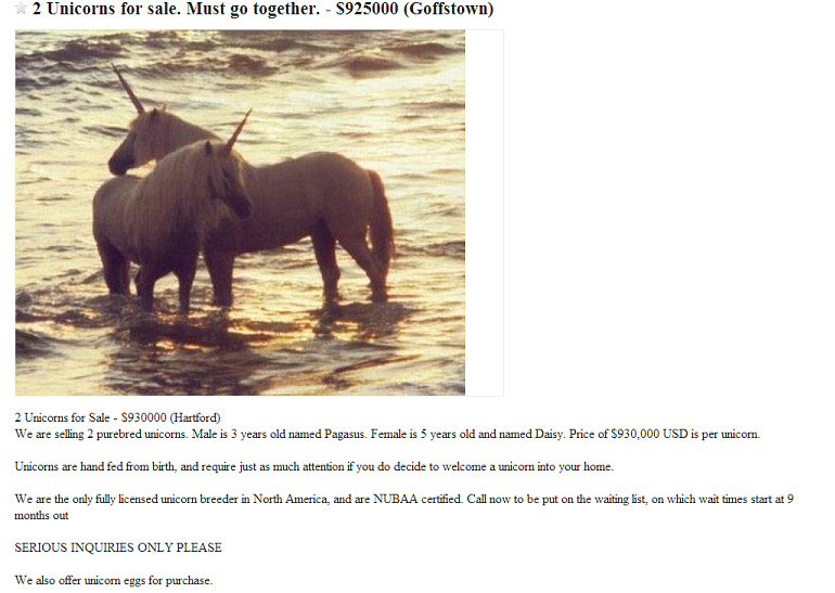 Unicorn Craigslist Ad
