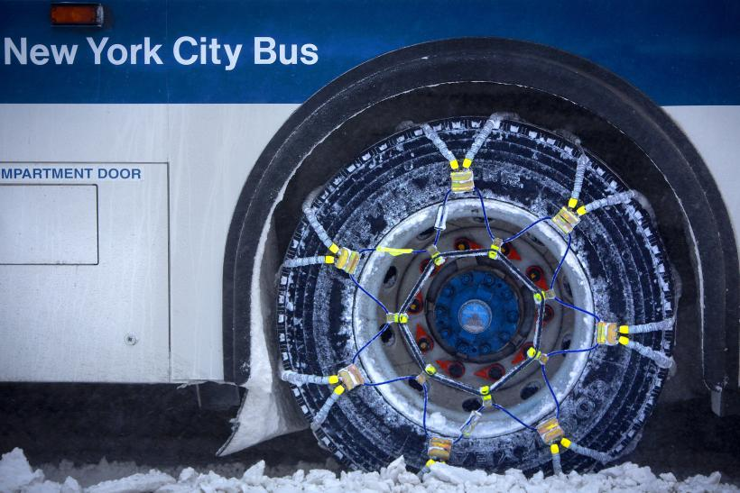 Snowchains on MTA Bus