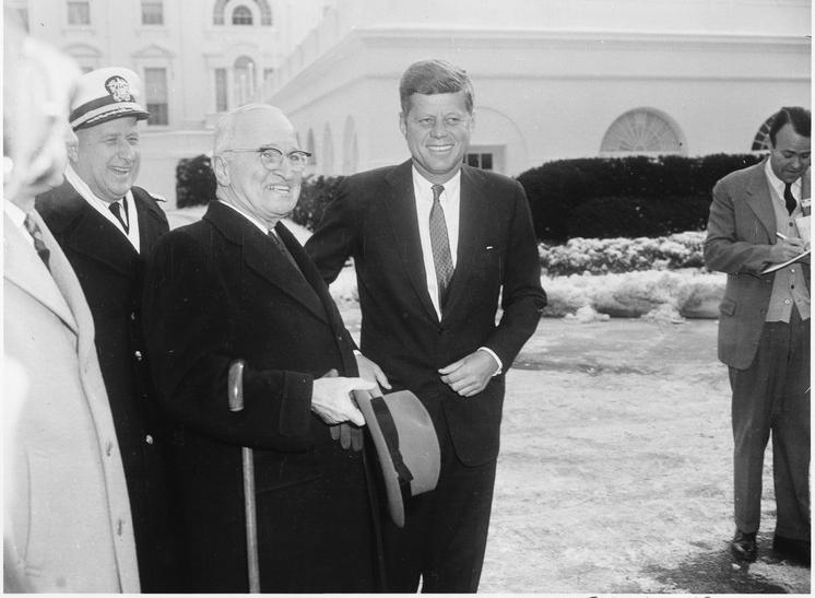 Truman Kennedy White House outside Jan 1961 NA