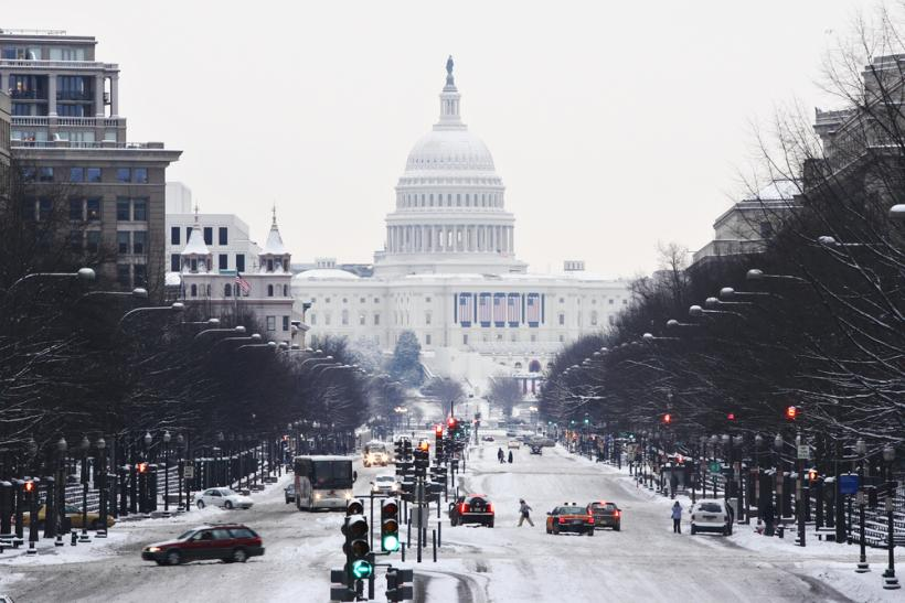 US Capitol winter snow Penn Ave  Shutterstock