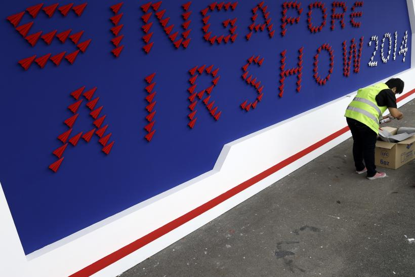 Welcoming sign at the Singapore Airshow