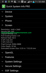 Supposed Samsung Galaxy S5 screenshot indicating QHD display.