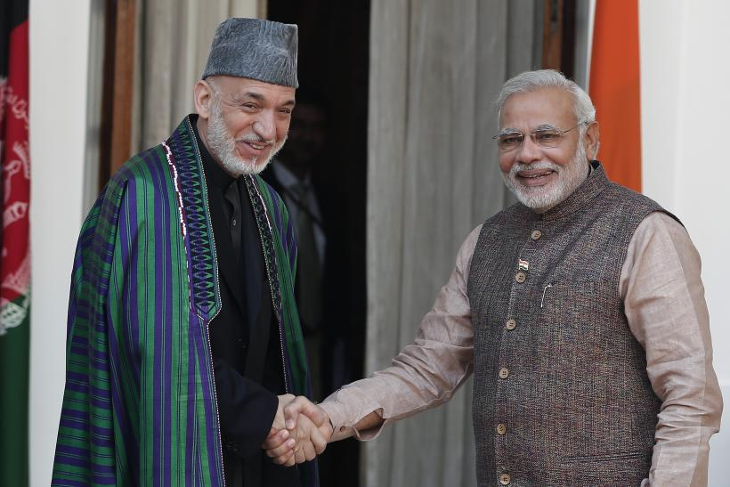 Narendra Modi with Hamid Karzai
