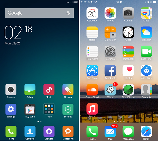 xiaomi home screen comparison