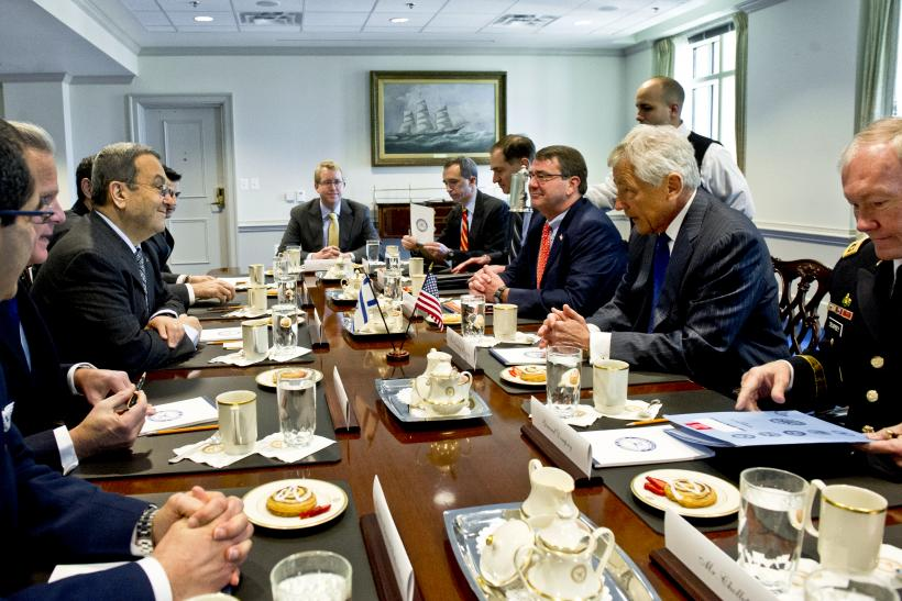 Breakfast meeting with Hagel and Barak