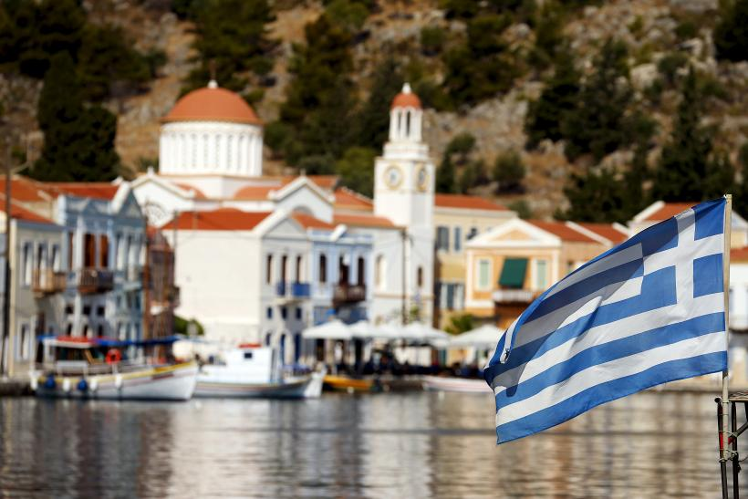 Greece flag town