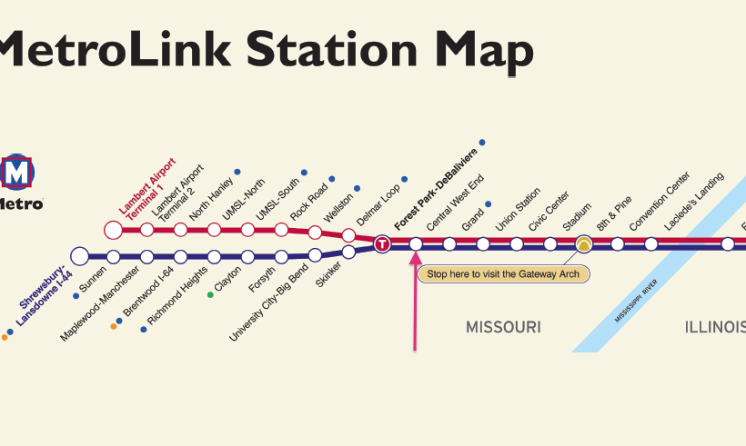 MetroLink Map, Central West End Stop, St. Louis