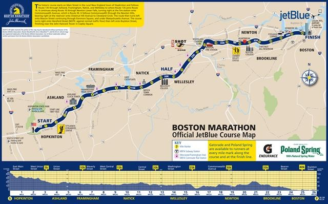 Boston Marathon Map 2015