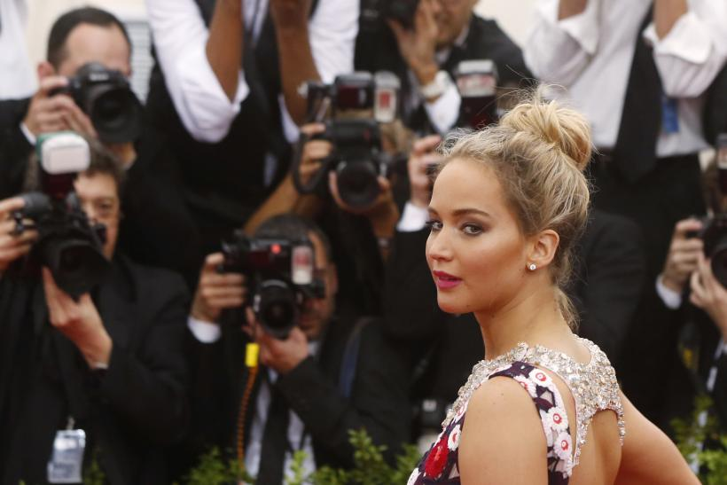 "[10:40] Actress Jennifer Lawrence arrives at the Metropolitan Museum of Art Costume Institute Gala 2015 celebrating the opening of ""China: Through the Looking Glass,"" in Manhattan"